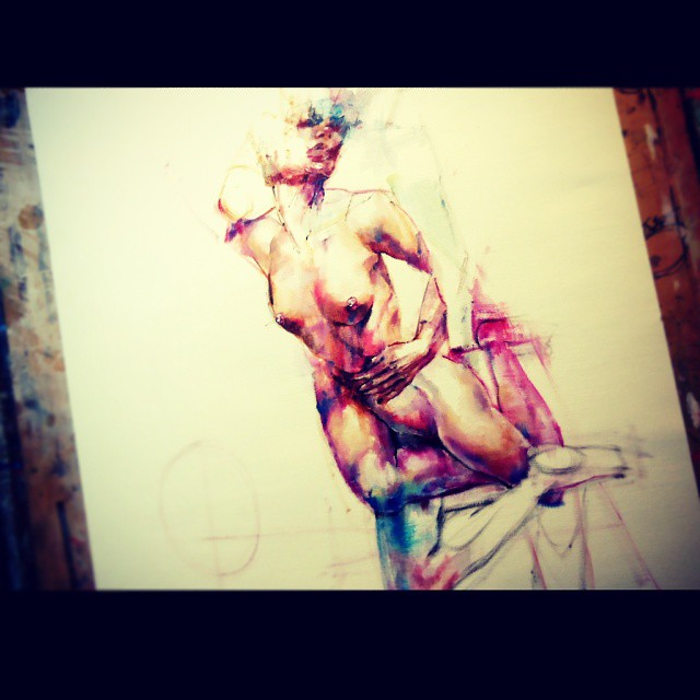 paint painting pintura oil oleo papel paper art arte woman mujer naked desnudo passion