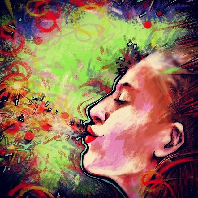 bacio kiss beso digital digitalart art arte artist artista paiting pintura
