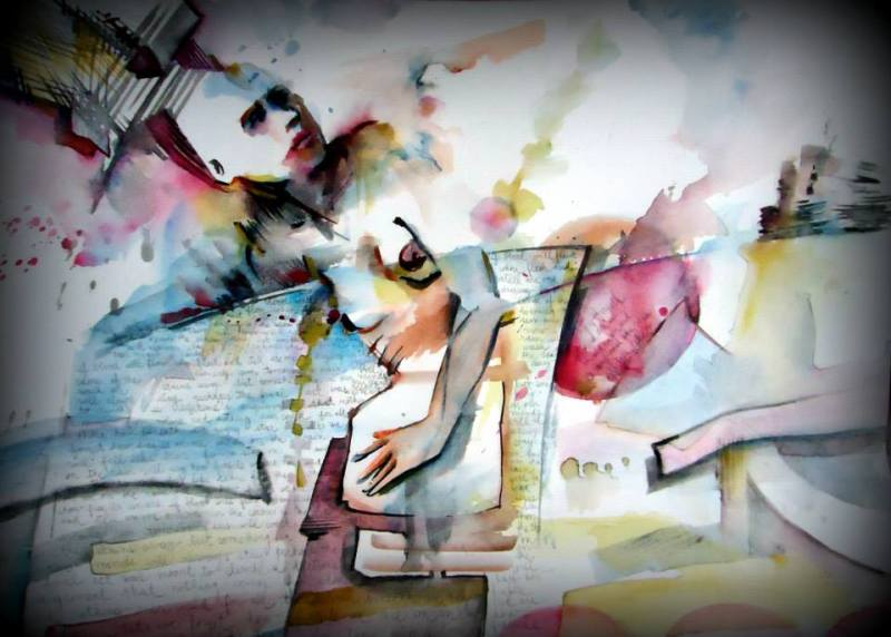 woman mujer watercolor acuarela paper papel liketearsfromthestars sting lyrics quote city ciudad stain mancha color colour