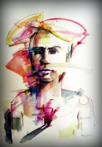 hombre heart corazón watercolor acuarela paper papel portrait man architecture arquitectura