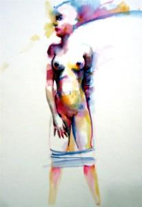 woman mujer acuarela transformation transformación water agua papel paper naked desnudo