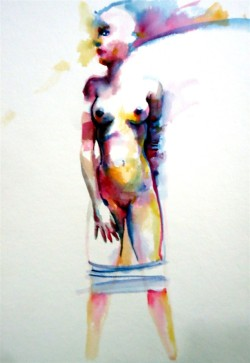 woman mujer acuarela transformation transformación water agua papel paper naked desnudo