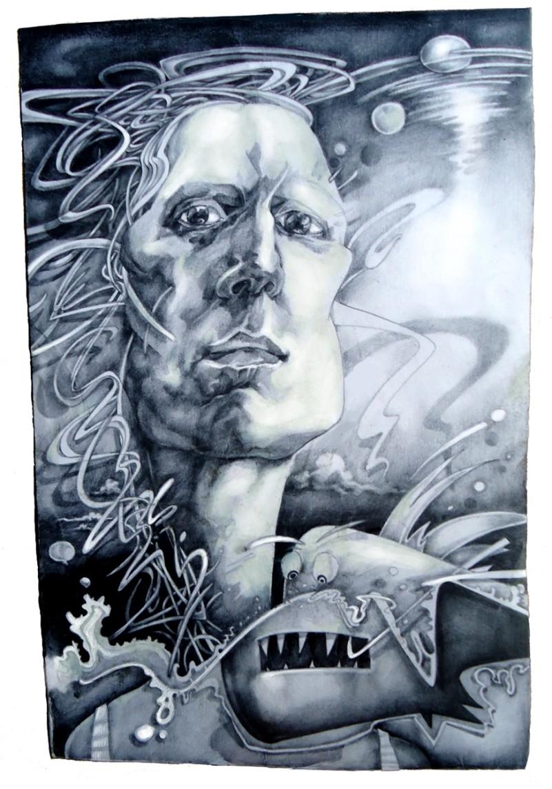 dibujo drawing draw draweverywhere pencil papel paper lapiz pez mujer retrato woman portrait sumergido pescado