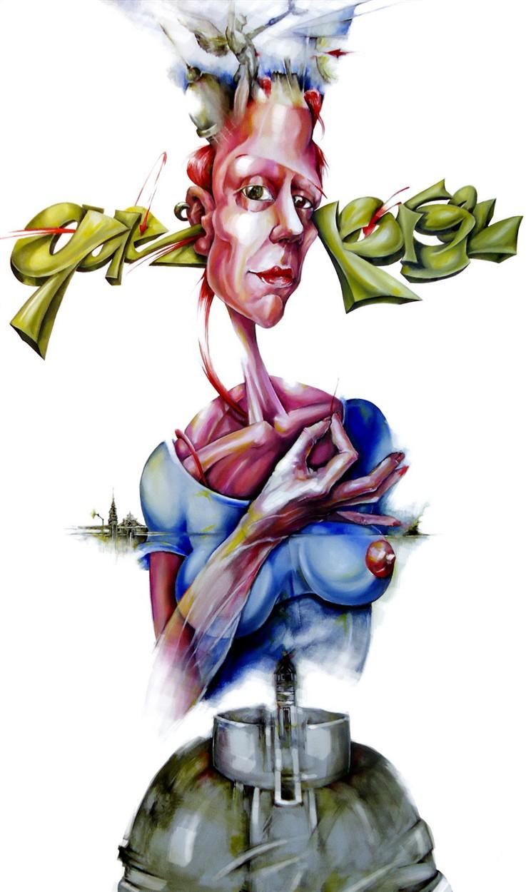 triptych triptico oil canvas tela oleo graff graffiti woman mujer portrait
