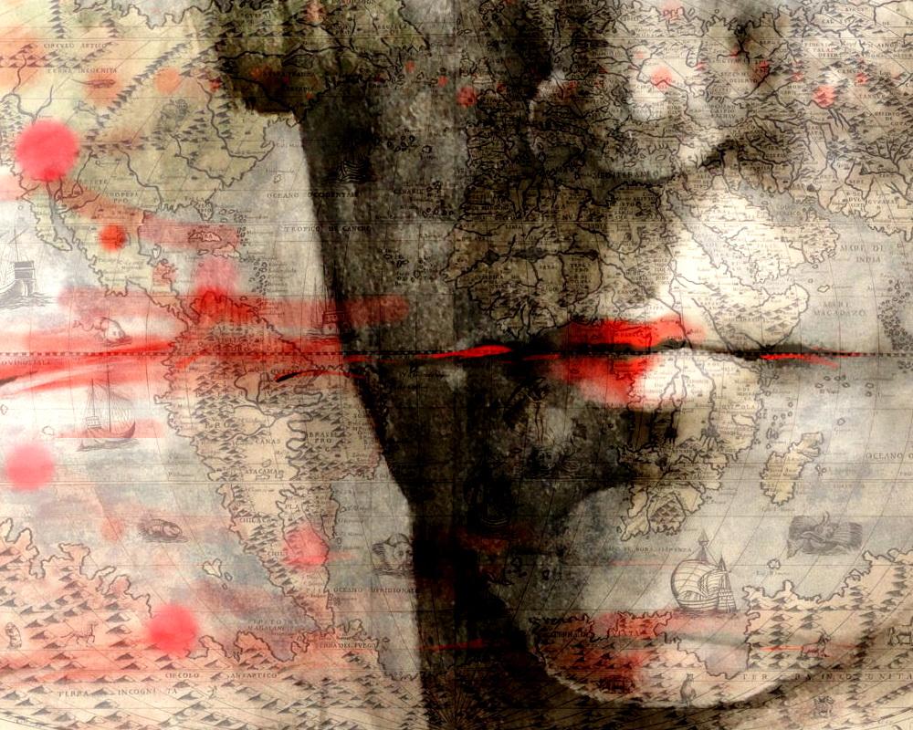 paper papel ilustracion illustration dibujo drawing art arte digital analogico mixedmedia tecnicamixta map mapa man hombre portrait retrato mouth boca