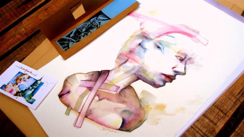 watercolor acuarela papel paper woman mujer transformation bacon francisbacon