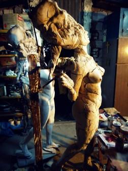decay clay arcilla priming imprimacion lifesize woman sculpture escultura mujer tamañonatural resin resinpolyester resinapolyester naked desnuda skull craneo calavera twins mellizas
