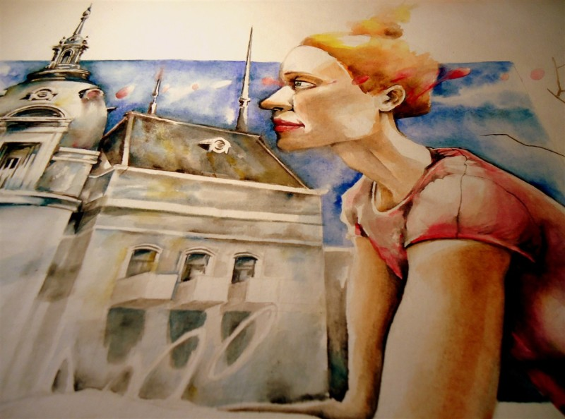 watercolor acuarela city ciudad mujer woman portrait retrato