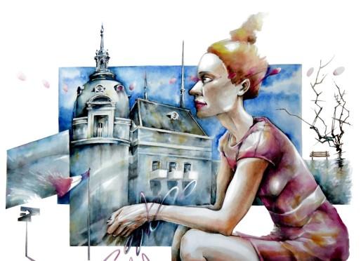 watercolor acuarela paper papel portrait woman buildings edificios city ciudad mujer architecture arquitectura