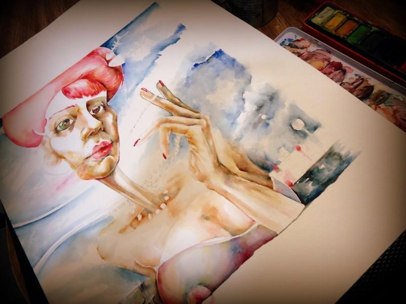 watercolor acuarela paper papel woman passion mujer city ciudad