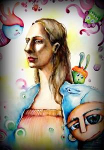 watercolor acuarela color paper papelportrait retrato woman artist evamelgarejo artista argentina