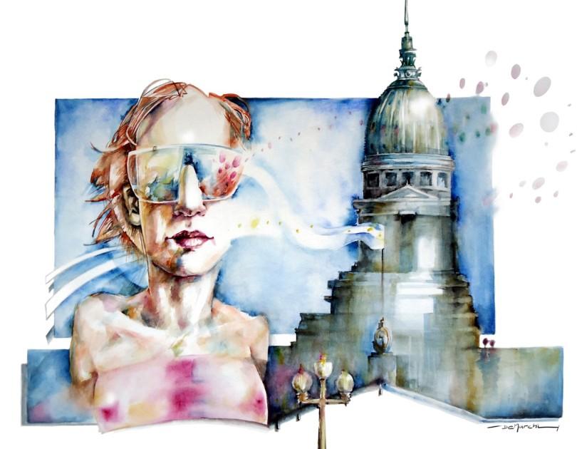 watercolor acuarela paper papel portrait woman congress mujer congreso architecture arquitectura
