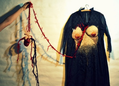 VestidosNegros - NiUnaMenos - embroidered vintage dress and textil heart