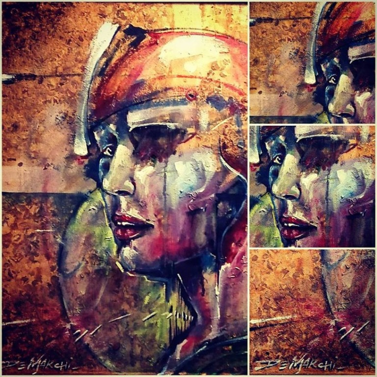 14 - Portrait painting for a table - recycled