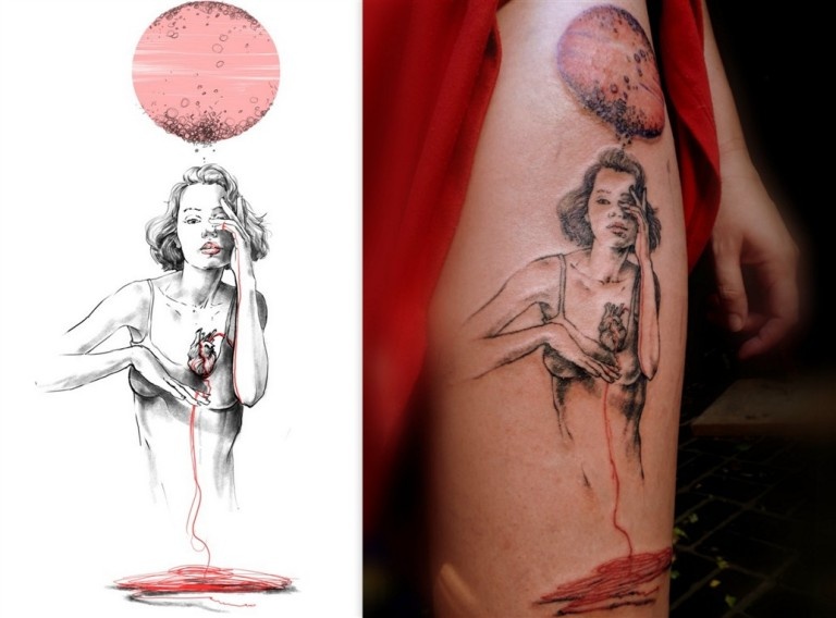 MIXED - Sketch and Final Tattoo