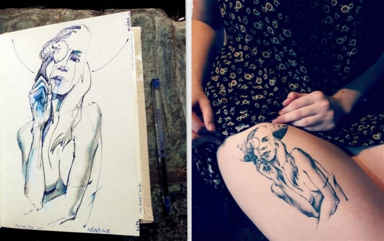MIXED - Sketchbook and Final Tattoo