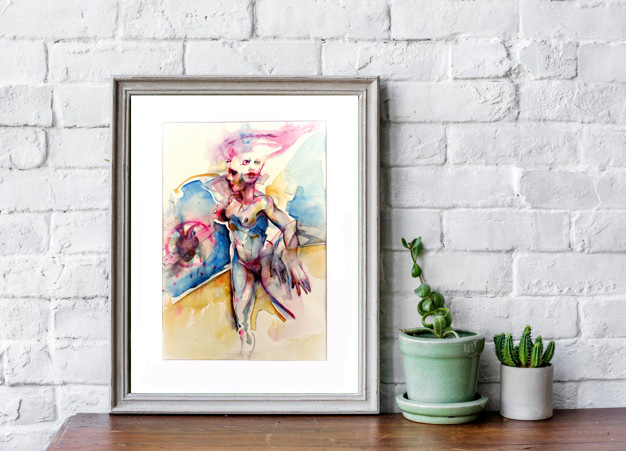 watercolor with frame